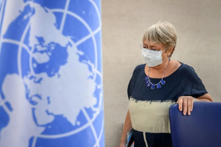 Michelle Bachelet, após o discurso de abertura da 48ª sessão do Conselho de Direitos Humanos da ONU, em Genebra
