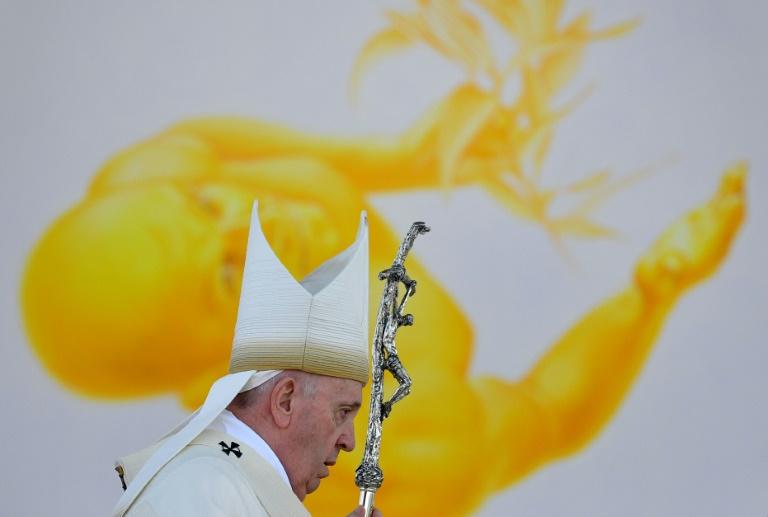 O papa Francisco celebra missa no santuário de Sastin, a 70 km da capital da Eslováquia, Bratislava