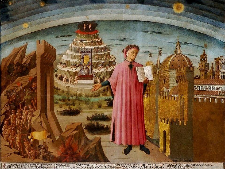 A exploração de Dante do mundo espiritual Afresco de Michelino