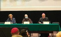 Arcebispo Stanis?aw G?decki e o do cardeal Seán Patrick O'Malley, Conferência Internacional sobre a Proteção de Menores e Adultos Vulneráveis (Reprodução Vatican News)
