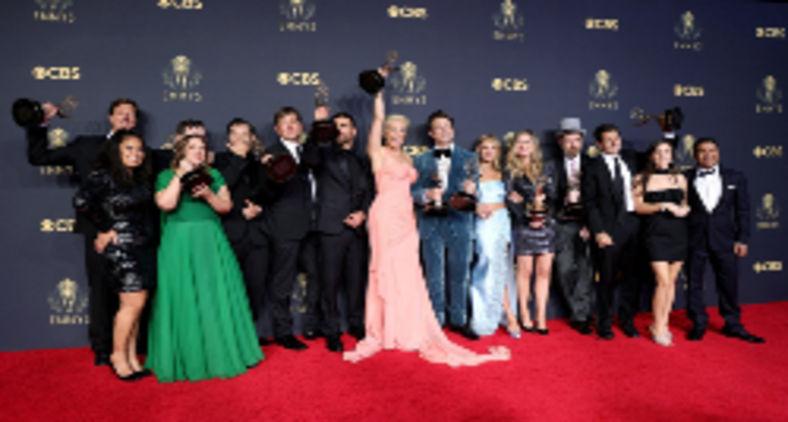 Vencedores da série de comédia de destaque 'Ted Lasso' durante premiação do Emmy 2021 (Rich Fury / Getty Images North America via AFP)
