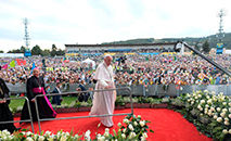 Papa Francisco no encontro com jovens no estádio Lokomotiva, em Kosice (Vatican News)