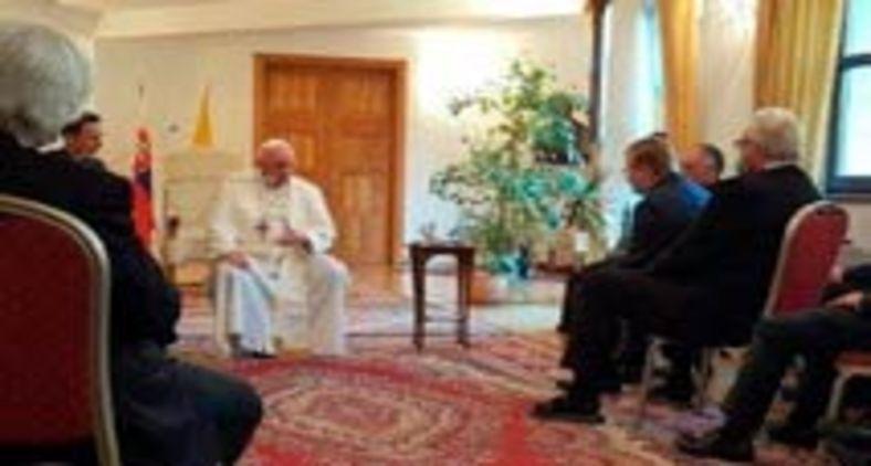 Papa Francisco durante seu encontro com jesuítas eslovacos (Vatican Media)