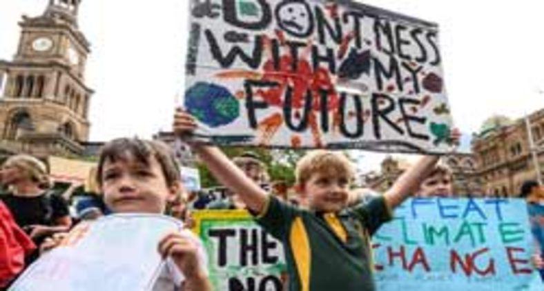 Crianças protestam pelo meio ambiente, em Sydney, Austrália (James Gourley/AFP/Getty)