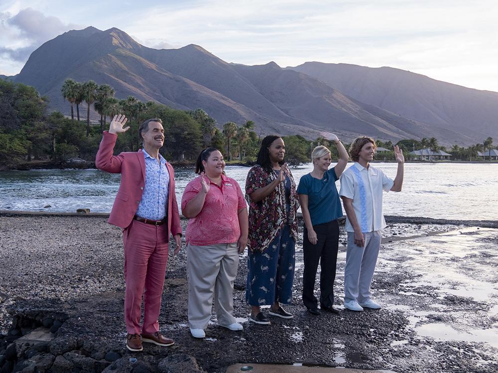 Murray Bartlett, Jolene Purdy, Natasha Rothwell, Lukas Gage em 'The white lotus'