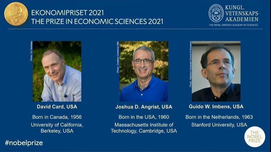 David Card, Guido Imbens e Joshua Angrist ganharam hoje (11) o prêmio Nobel de Economia 2021