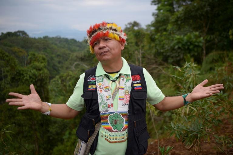 O líder da Coica, Gregorio Mirabal, durante entrevista em Unión Base, na província de Pastaza, no Equador, em 24 de setembro de 2021