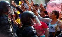 Manifestantes protestam em Quito contra o governo: repressão (AFP)