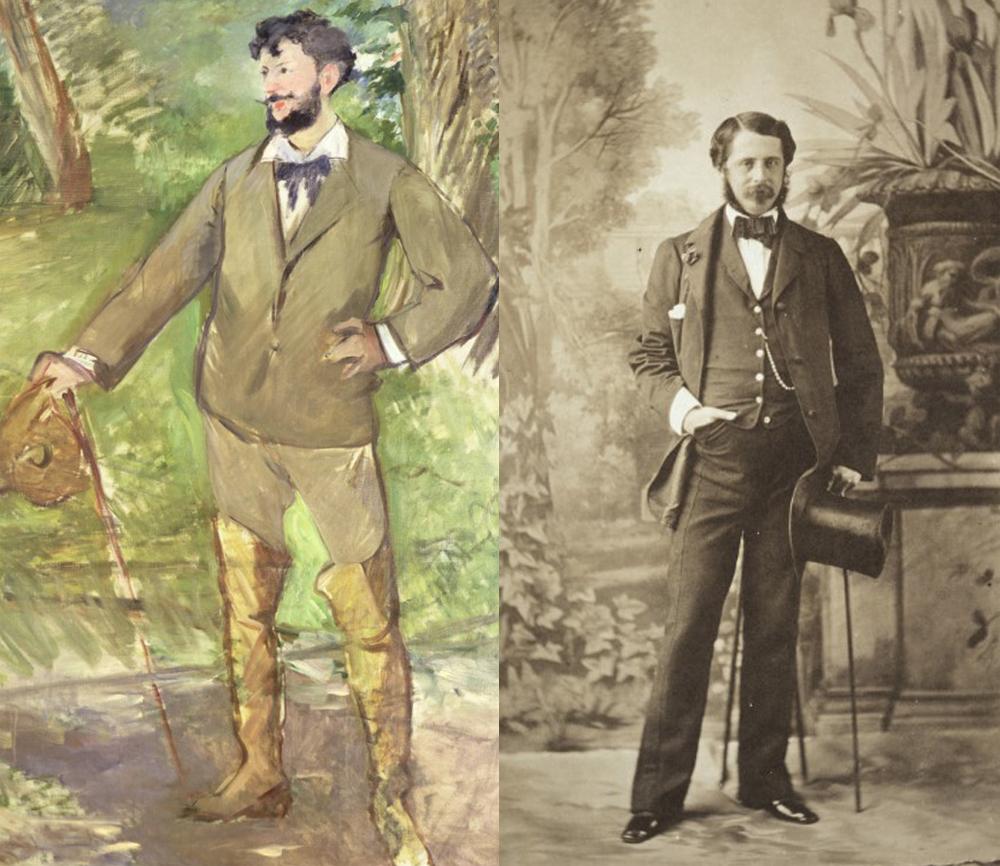 O fotógrafo Olympe Aguado (dir) foi referência para o pintor Edouard Manet.