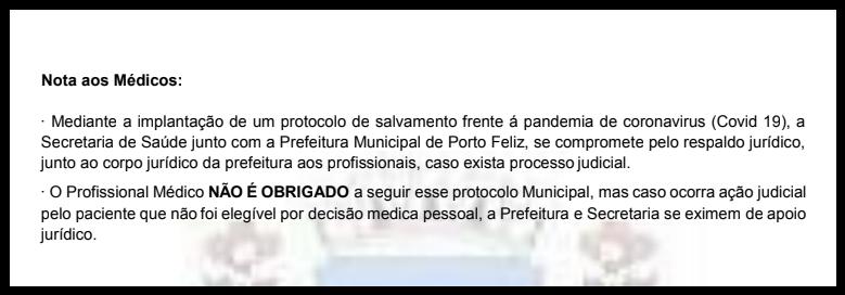Trecho de versão do protocolo de Porto Feliz, posteriormente suprimido, fala em assessoria jurídica somente para quem receitar os medicamentos (Agência Pública)