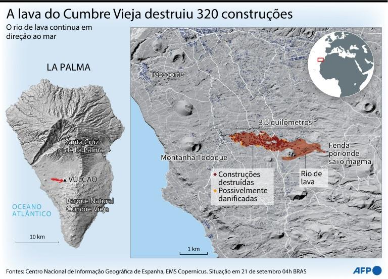 Mapa da ilha de La Palma destacando o rio de lava expelida pelo vulcão Cumbre Vieja (Patricio ARANA/AFP)
