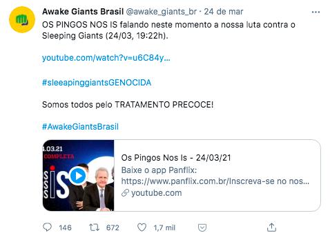 Programa Os Pingos Nos Is falou sobre a hashtag que atacou o Sleeping Giants