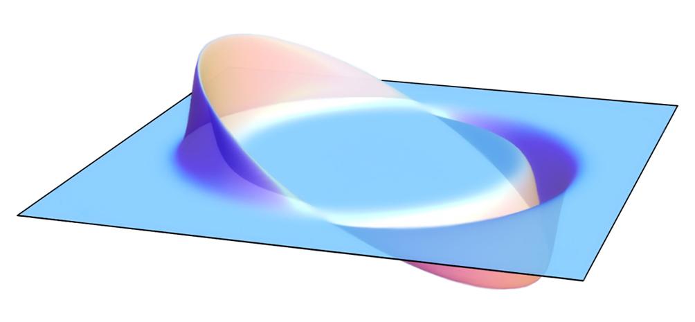 Esta representação bidimensional mostra a bolha plana e não distorcida do espaço-tempo no centro, onde uma unidade de dobra seria cercada por um espaço-tempo comprimido à direita (curva para baixo) e espaço-tempo expandido para a esquerda (curva para cima) (Foto: AllenMcC/Wikimedia)