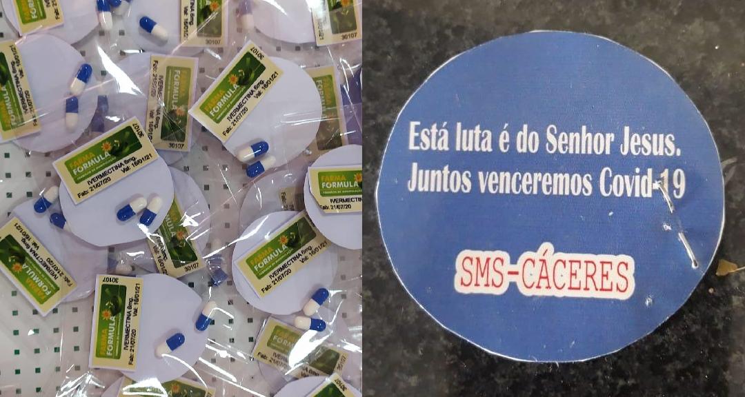 Em Cáceres (MT), pacote com ivermectina foi entregue como profilaxia, ou seja, como prevenção à Covid-19. Os kits Covid para profilaxia foram entregues com mensagens cristãs para a população da cidade (Reprodução/Facebook)