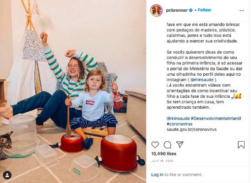 Publicação no Instagram da influenciadora Priscila Brenner (Instagram/Reprodução)