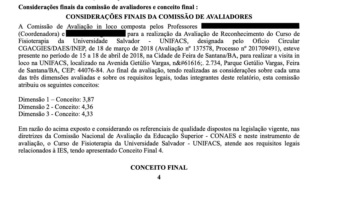 Relatório do MEC obtido pela reportagem mostra a nota final da avaliação