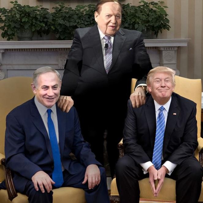 Adelson, entre seus afilhados políticos: Benjamin Netanyahu e Donald Trump