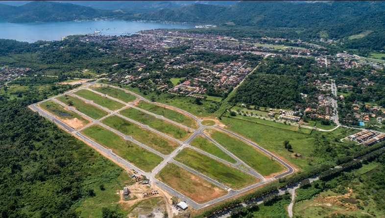 Vista aérea do loteamento Porto das Canoas. (HF Urbanismo/Santa Edwiges Empreendimentos)